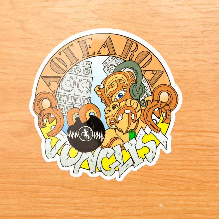 Aotearoa junglist kiss cut stickers custom stickers nz bumper stickers