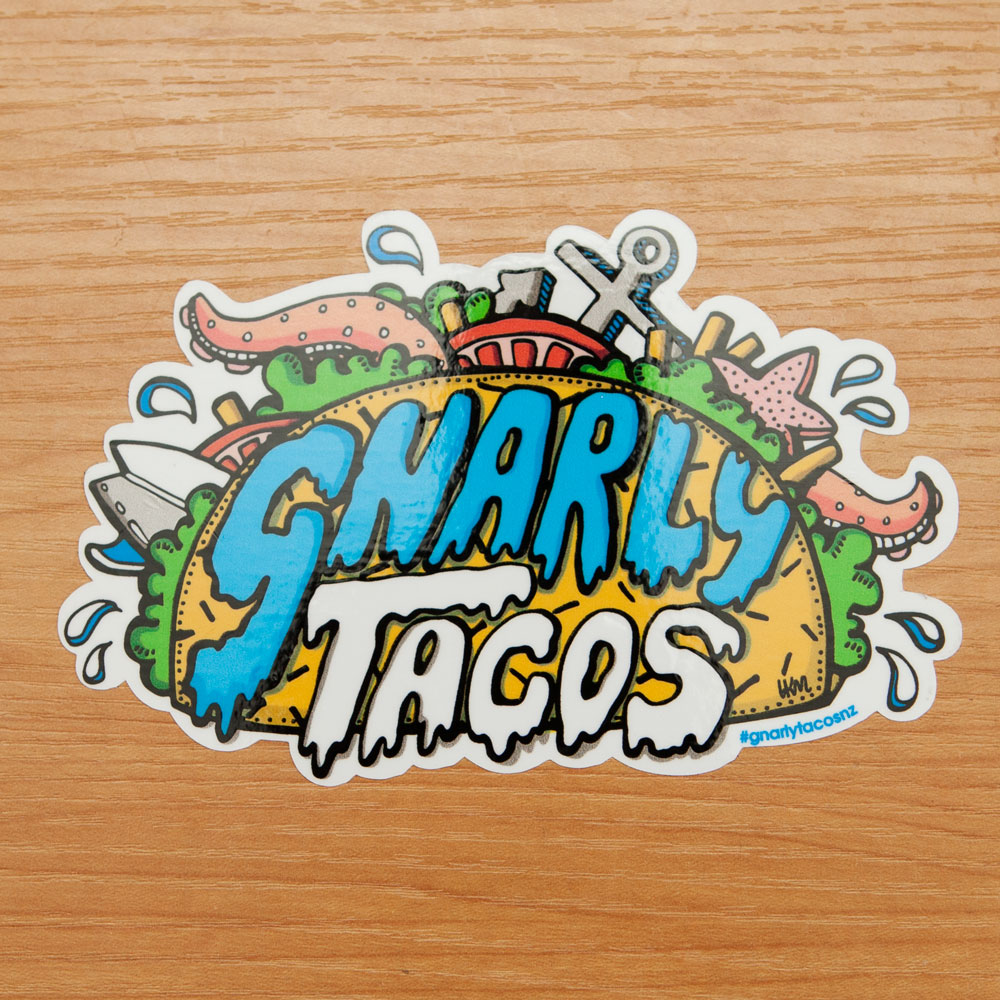 Gnarly tacos kiss cut stickers