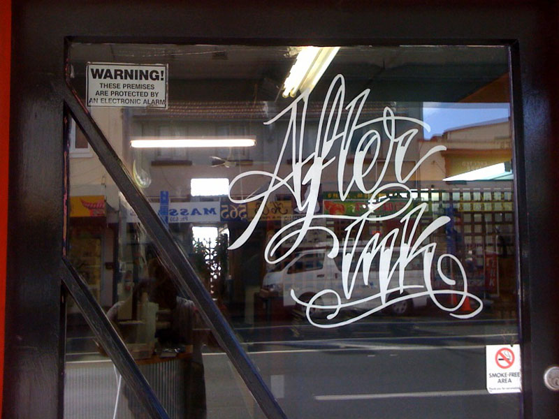 After ink custom window sticker by customstickers co nz at artrageous tattoo studio